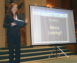 Kathleen Rice in her appearance at Temple Judea